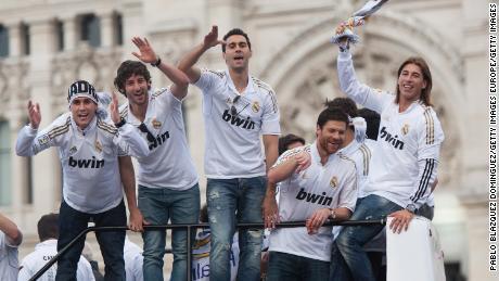 Il Real Madrid celebra la vittoria della Lega nel 2012.