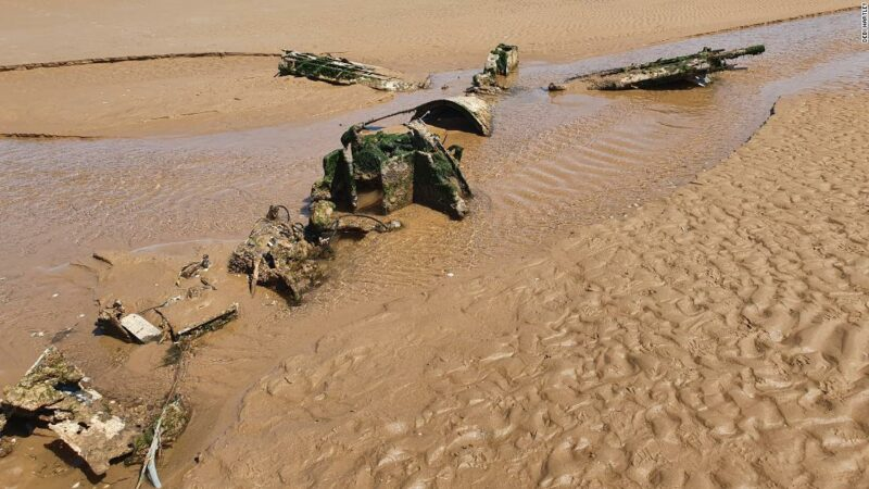 Debi Hartley and Graham Holden found the World War II aircraft buried on a beach in England.
