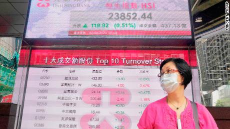 Una donna che indossa una maschera passa davanti a un cruscotto elettronico della banca che mostra l'indice azionario di Hong Kong alla borsa di Hong Kong martedì.